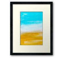 Aqua and Gold Abstract Art Painting Framed Print