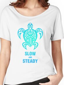 CIDP Green Blue Slow & Steady Turtle Women's Relaxed Fit T-Shirt