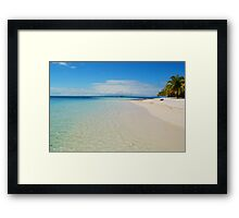 Aqua Waters Lap the Deserted Tropical Belize Island White Sand Beach Framed Print