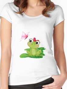 Cute Girl Frog Women's Fitted Scoop T-Shirt