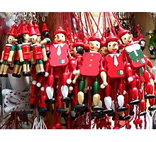 Colourful Red Toy Puppets in Prague Market Square Photographic Print