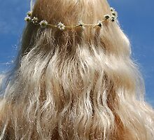 Cute Blonde Girl Festival Hippy Chick Hair and Daisy Chain by HotHibiscus