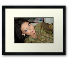 Serving not my country, but my man Framed Print