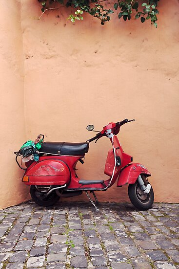 Retro red Scooter by Phil  Crean