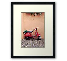 Retro red Scooter Framed Print