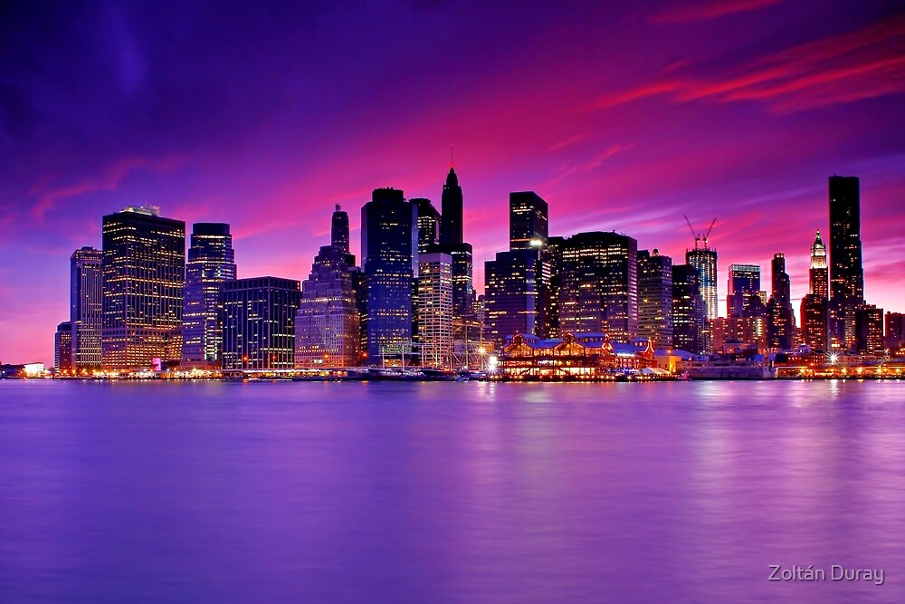 new york city manhattan skyline at night by zolt n duray redbubble. Black Bedroom Furniture Sets. Home Design Ideas