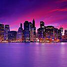 New York City Manhattan Skyline at Night by Zoltán Duray