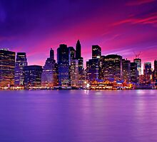 New York City Manhattan Skyline at Night by Zoltán Duray