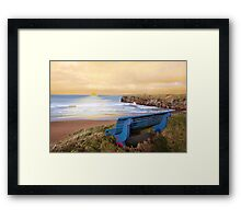blue bench sunset view Framed Print