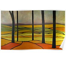 Distant Hills 60x36 Oil Poster