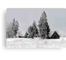 Lonely homestead in frost at 2011/01/28 winter Canvas Print
