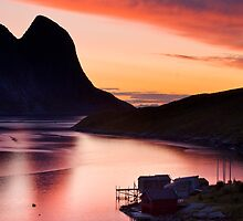 Dawn over Reinefjorden, Lofoten Islands, Norway. by Justin Foulkes