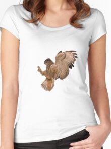 Eagle Owl  Women's Fitted Scoop T-Shirt