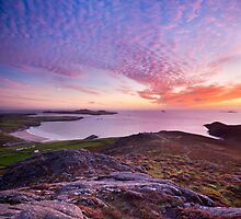 Sunset over Whitesands Bay and St David's Head, Pembrokeshire. by Justin Foulkes