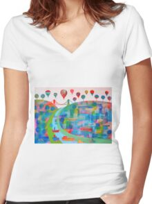 Patchwork Bristol Women's Fitted V-Neck T-Shirt