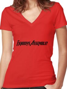 Fanboys Assemble! (Black Text) Women's Fitted V-Neck T-Shirt