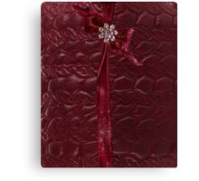 Faux Cranberry quilted look with rhinestones and ribbons Canvas Print