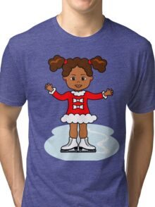 Ice Skater Girl Cute Red Dress Tri-blend T-Shirt
