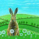 Fat hare in dandelions by Jenny Urquhart