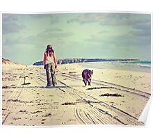 Girl Walking Dog On Lonely Beach Poster