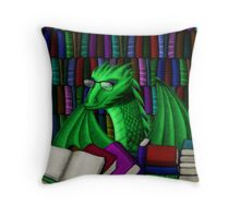 Green Dragon with Book Hoard Throw Pillow