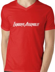 Fanboys Assemble! (White Text) Mens V-Neck T-Shirt