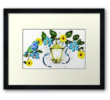 Blue Bird and Blue Flower Framed Print