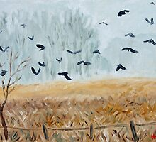 """Foggy field with crows"" by fieldsendart"