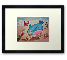 Bluebird and friends 1 - Happy themed critter friends grouping intended for a childs room Framed Print