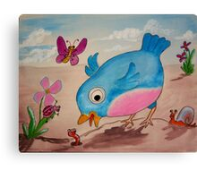 Bluebird and friends 1 - Happy themed critter friends grouping intended for a childs room Canvas Print