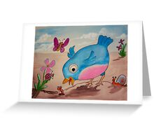 Bluebird and friends 1 - Happy themed critter friends grouping intended for a childs room Greeting Card