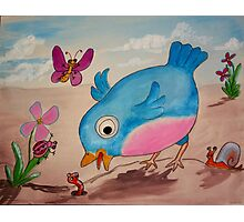 Bluebird and friends 1 - Happy themed critter friends grouping intended for a childs room Photographic Print