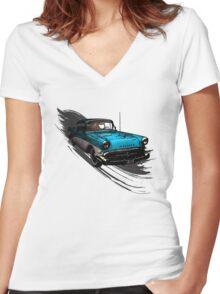 Car Retro Vintage Design Women's Fitted V-Neck T-Shirt