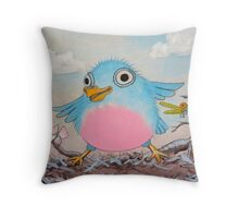 Bluebird and friends 2 - Happy themed critter friends grouping intended for a childs room Throw Pillow
