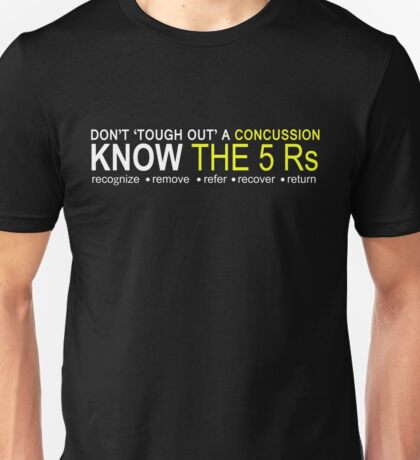 Official USA Rugby Concussion Policy: Know the 5 Rs Unisex T-Shirt