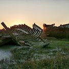 Sunset at Fleetwood Wrecks. by Lilian Marshall