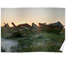 Sunset at Fleetwood Wrecks. Poster