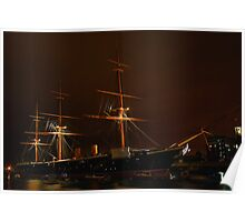 HMS Warrior at Night Poster