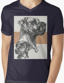 Great Dane (uncropped) Father & Son  Mens V-Neck T-Shirt
