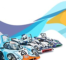Porsche Gulf Martini 917K Advertisement Poster by LongbowX