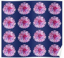 FUNNY FLOWERS ON DARK BLUE  Poster