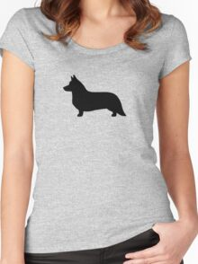 Cardigan Welsh Corgi Silhouette Women's Fitted Scoop T-Shirt