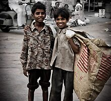 2 boys and a bag by John Walker