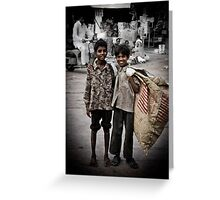 2 boys and a bag Greeting Card