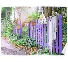 Vintage Purple Picket Fence Poster