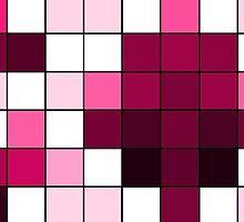 Modern Pink, Black, and White Geometric Squares by Blkstrawberry