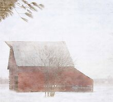 red barn in the snow by Maureen Nichols