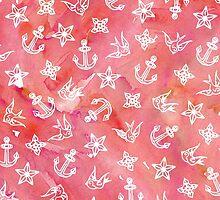 Cute Nautical Anchor Pattern on Pink Watercolor by Blkstrawberry