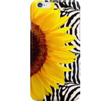 Bright Yellow Sunflower on Zebra Print Stripes iPhone Case/Skin
