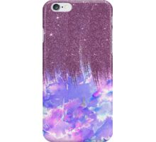 Pink, Blue, and Purple Watercolor and Faux Glitter iPhone Case/Skin
